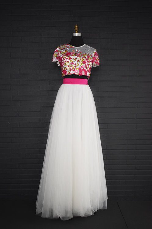 Sherri Hill Pink Floral Two Piece - Size 8