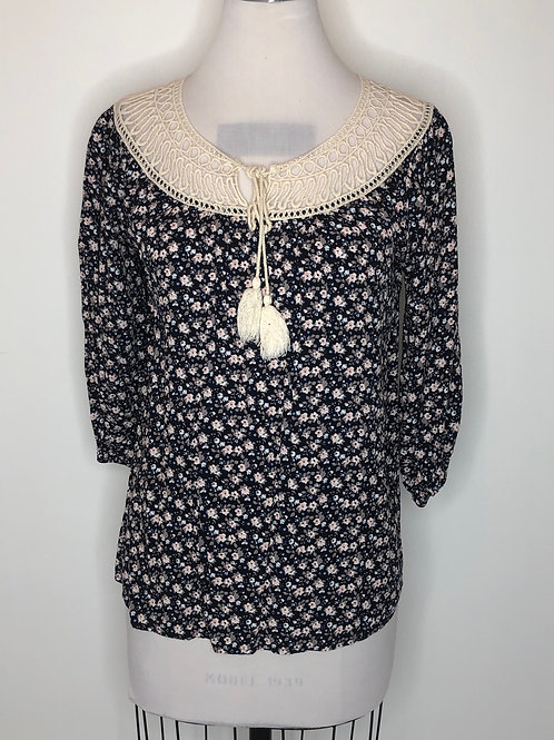 Navy Floral Shirt Small