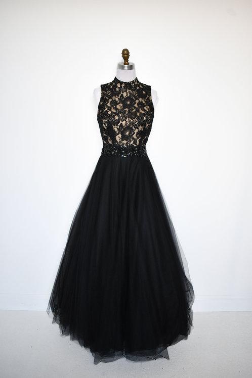 Black & Nude Ballgown - Size 6