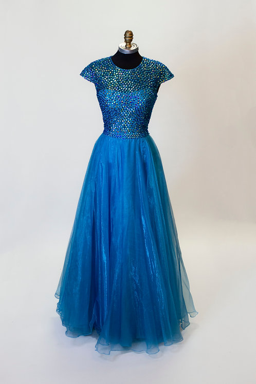 Sherri Hill Turquoise Sequin - Size 4