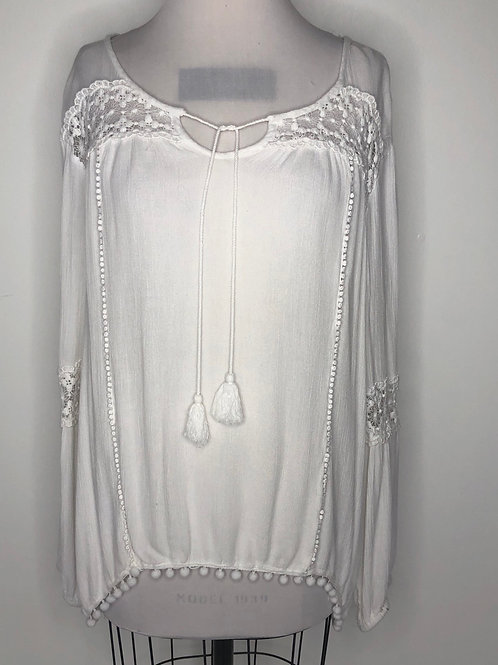 White Bohemian Top Suze X Large