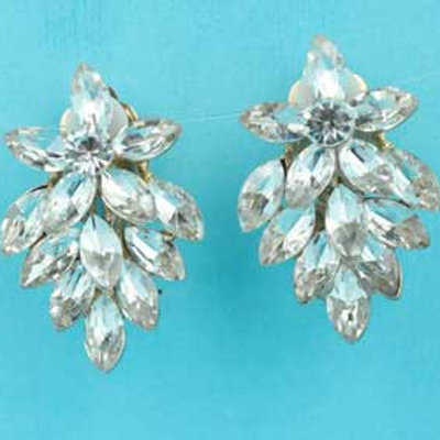 Clear/Gold Clip Earring Flower Shape 1.5""