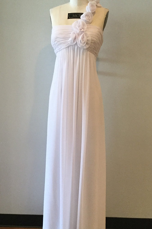 Simple White Chiffon with Roses - Sizes 4-32