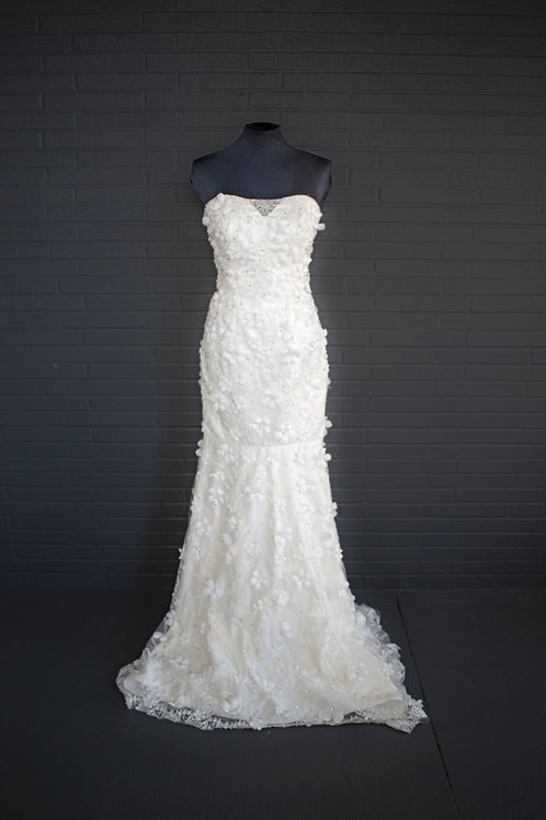 Ivory Floral Wedding Gown - Size 8