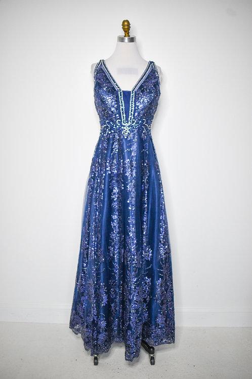 Navy Sequin Ballgown - Size 14