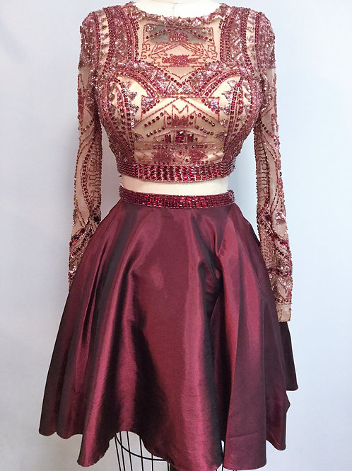Sherri Hill Burgundy and Nude Two Piece Short - Size 6