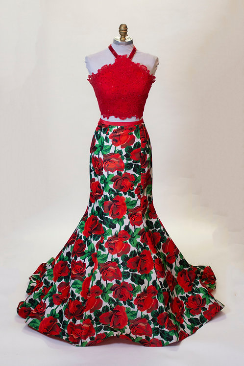 Sherri Hill Roses Two Piece - Size 4