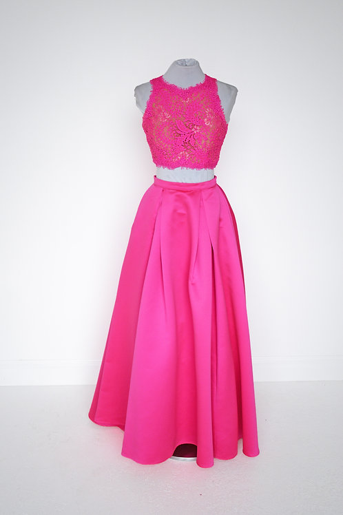Jovani Hot Pink Two Piece - Size 00