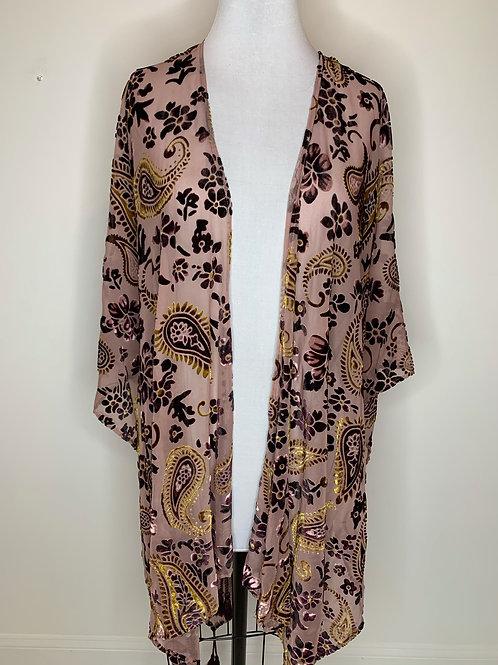 Mauve Print Kimono - One Size