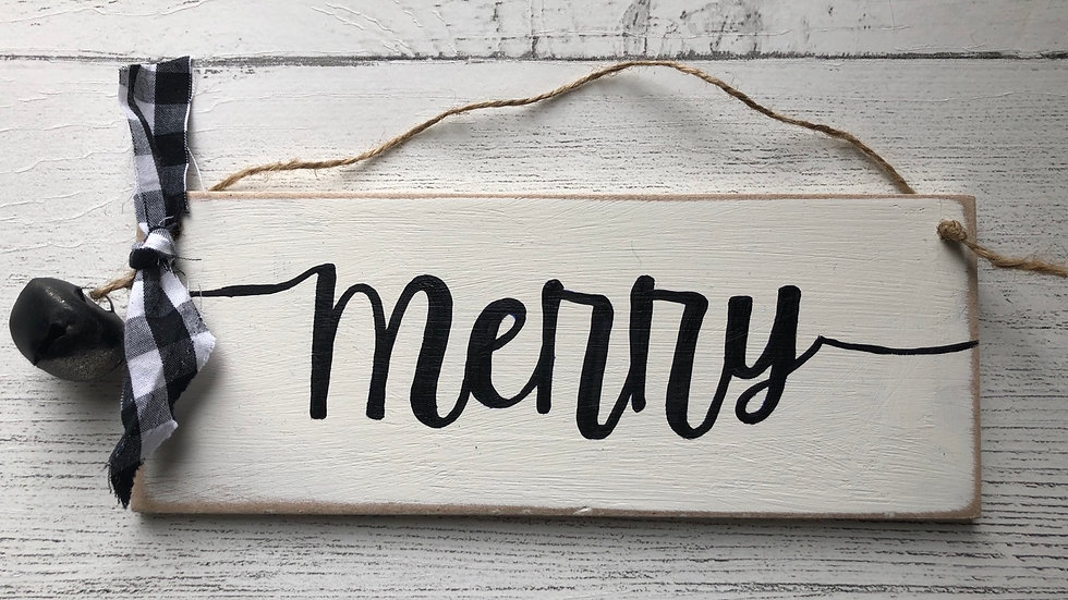'Merry' Hand Painted Sign