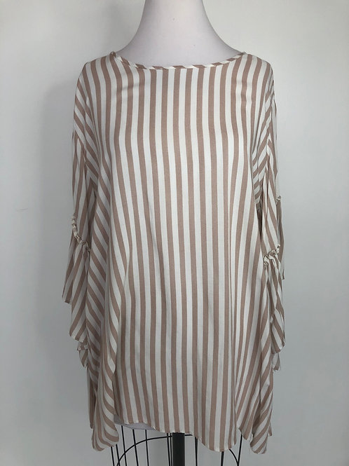 Taupe and Ivory Striped Shirt X Large