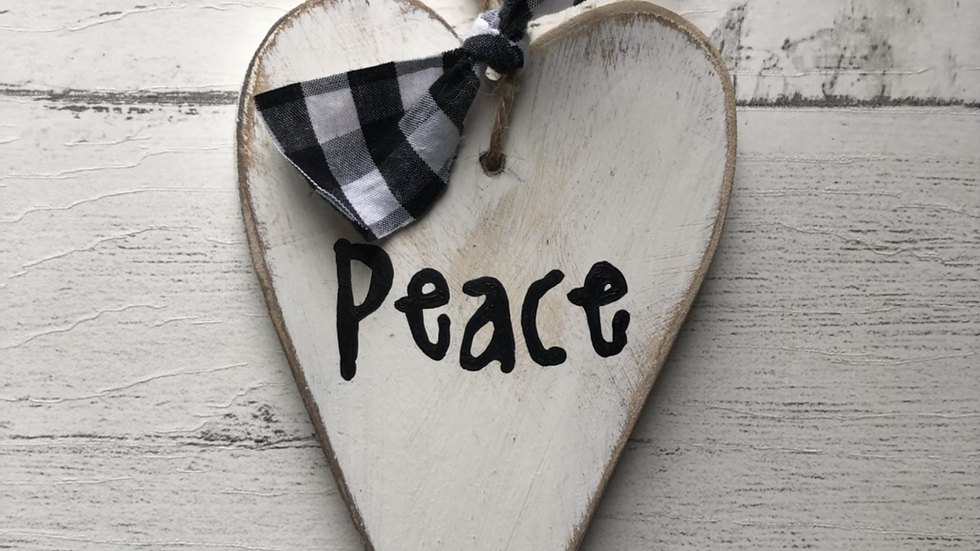 'Peace' Hand Painted Wooden Heart
