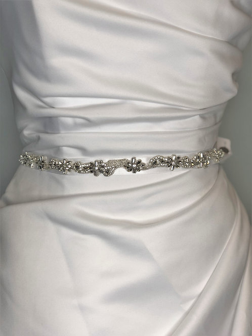 White Satin with Clear Stones