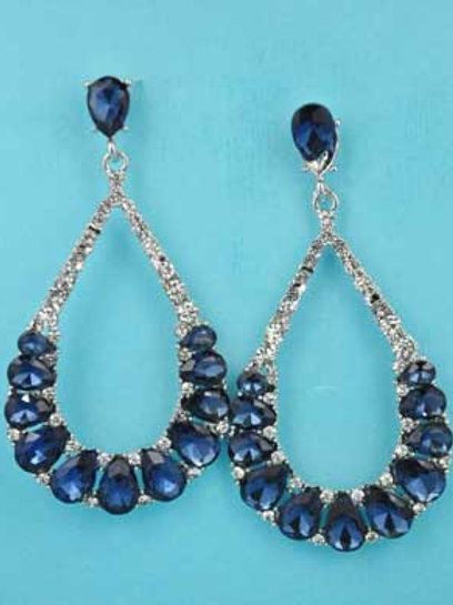 "Montana Navy/Clear Silver Pearshape Oval Stone 2"" Post Earring"