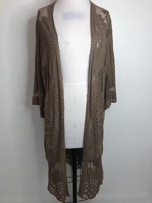 Taupe Lace Kimono Large