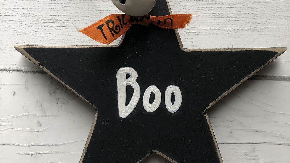 'Boo' Hand Painted Wooden Star