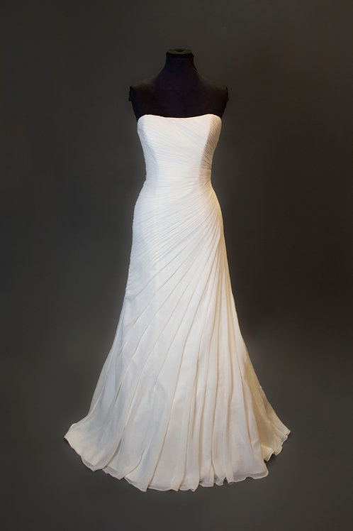 Ivory Chiffon Wedding Gown - Size 10