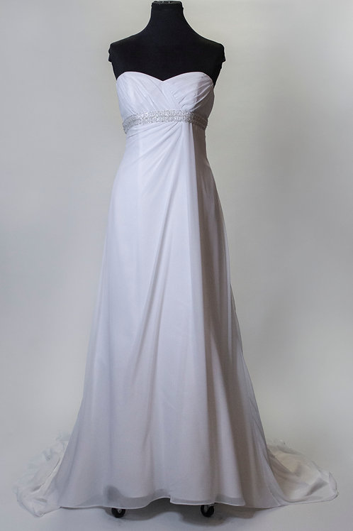 David's Bridal White Chiffon - Size 6