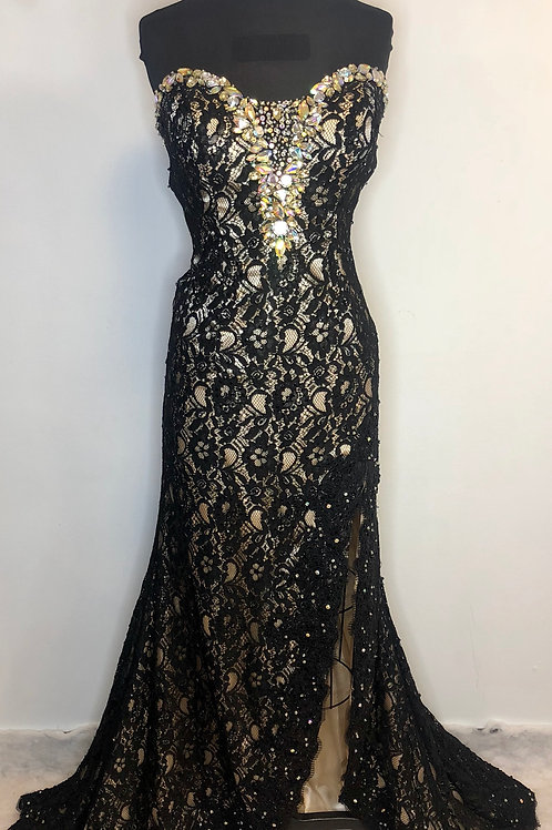 Mori Lee Black and Nude - Size 12