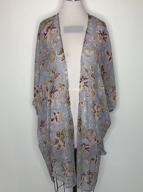 New! Blue Floral Print Kimono Small