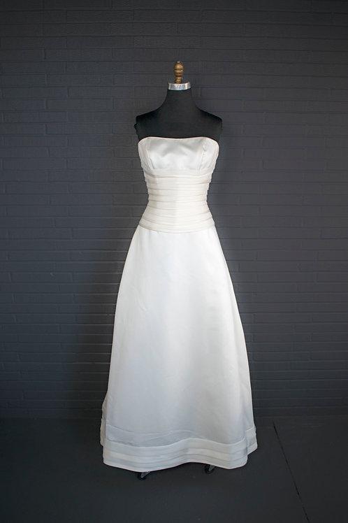 Ivory Satin Wedding Gown - Size 12