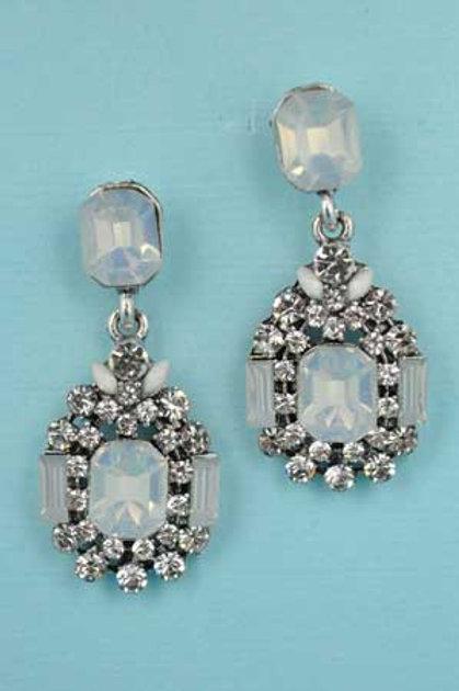 "Opal/Clear Silver Framed Center Emerald Stone 1.2"" Post Earring"