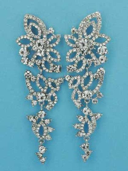 """Clear/Silver Flower/Leave Shape 3.5"""" Post Earring"""