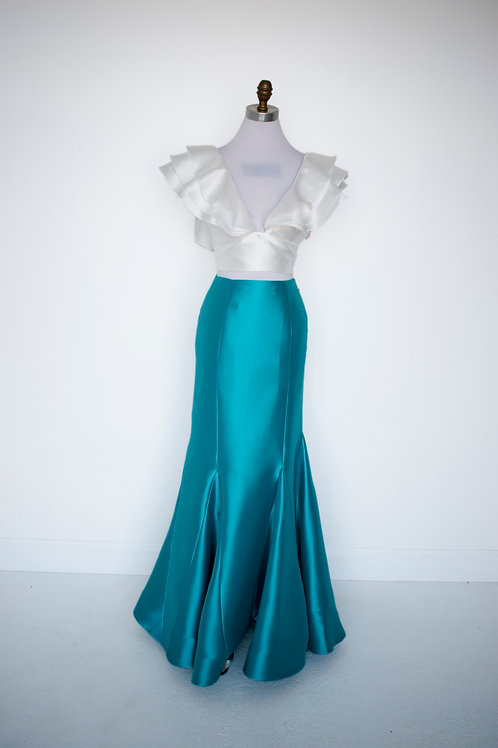 Sherri Hill Teal Two Piece - Size 8