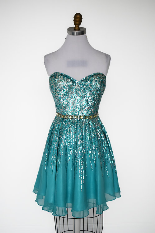 Sherii Hill Teal Sequined Short - Size 10