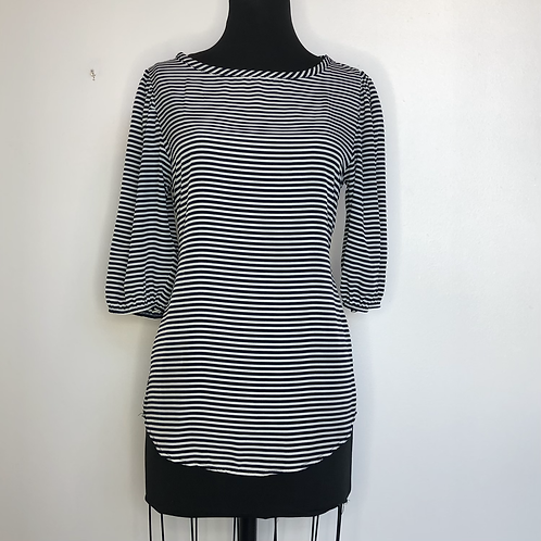 Navy and White Striped Blouse Small