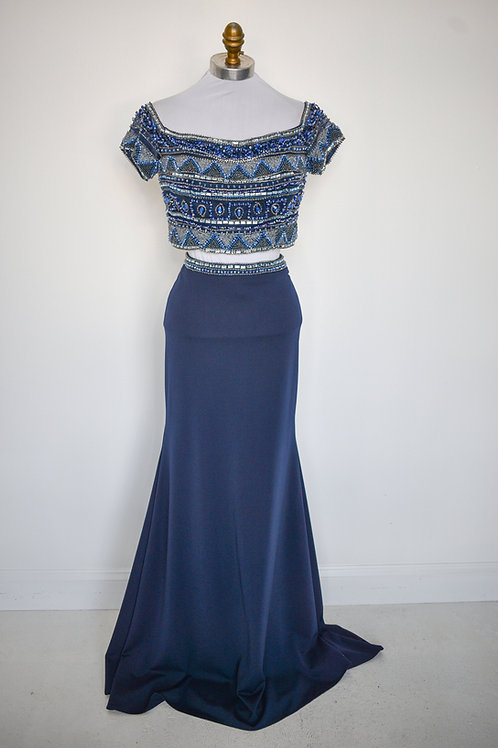 Beaded Navy Two Piece - Size 4