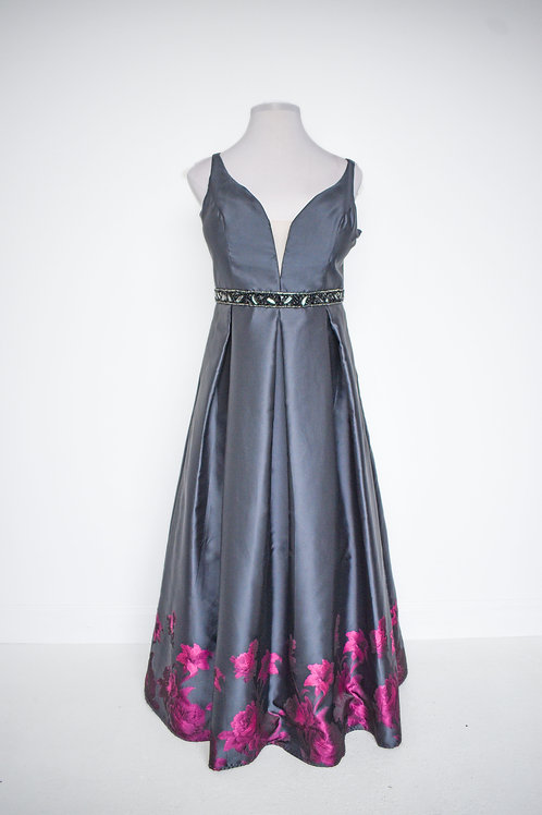 Black Floral Ballgown - Size 20