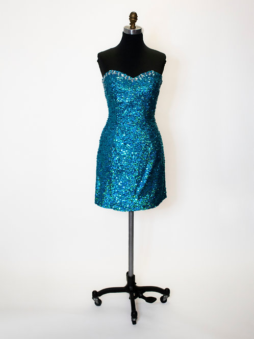 Short Turquoise Sequin - Size 6