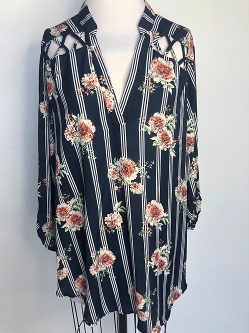 Navy Floral and Stripe Top Size 18