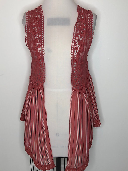 Burnt Orange Striped Vest Size Small