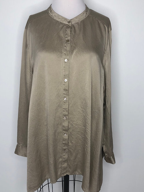 Eileen Fisher Silk Taupe Blouse X Large