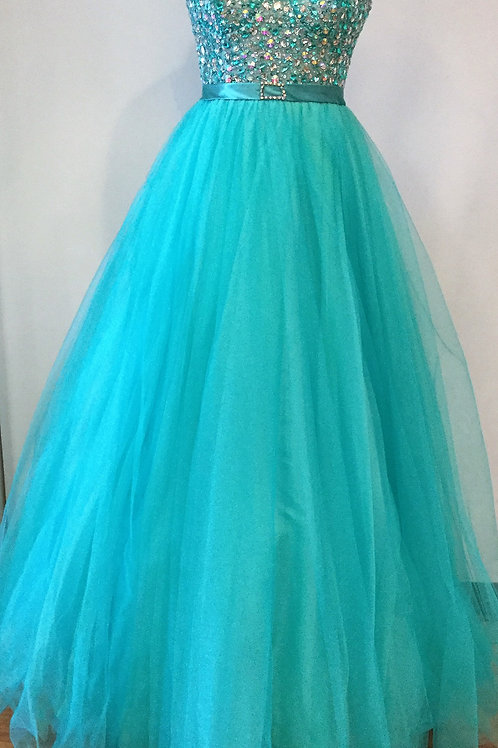 Mac Duggal Teal Tulle - Size 8