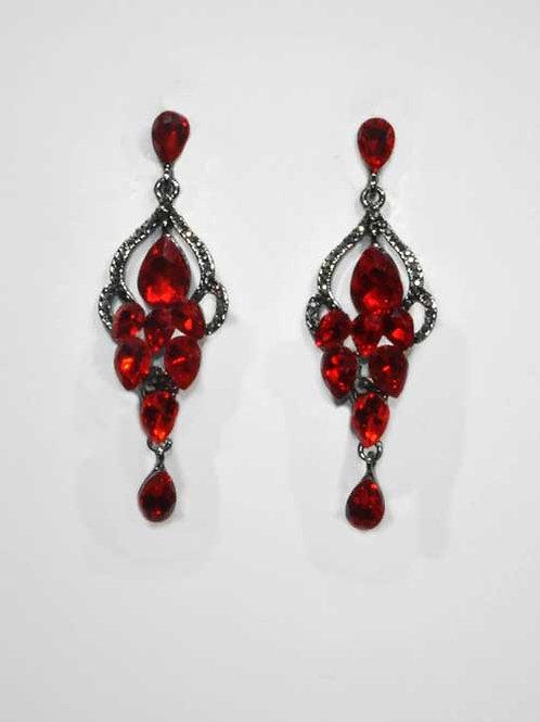 Red/Hematite Teardrop Stones Dangle Earring
