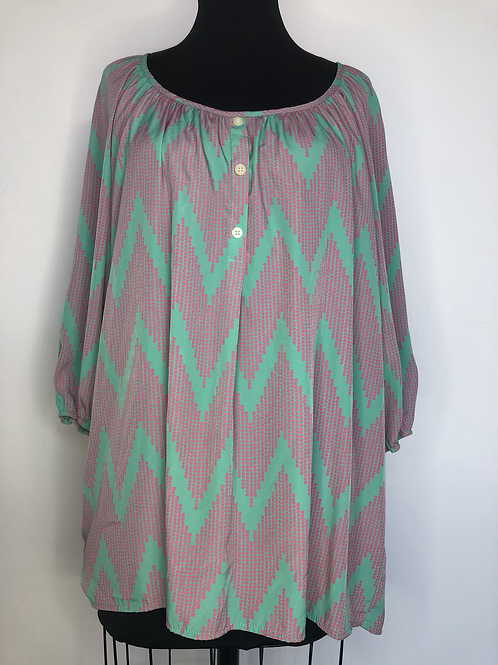 Pretty Pink and Mint Blouse Large