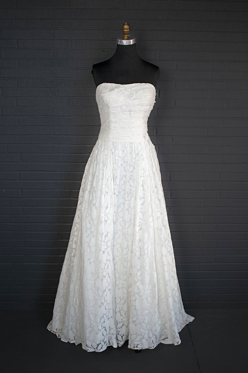 Ivory Floral Print Wedding Gown - Size 12