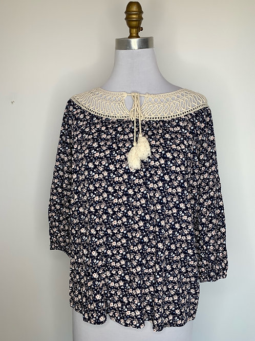 Navy print top - Size small