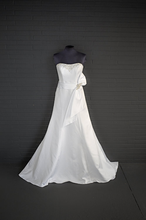 White Satin Wedding Gown - Size 4