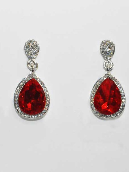 Red/Clear Silver Two Linked Pearshape Post Earring