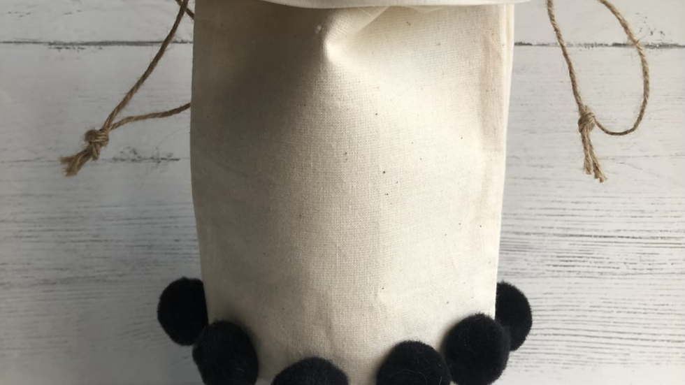 Fall Bottle Bag in Antique White & Buffalo Check Fabric