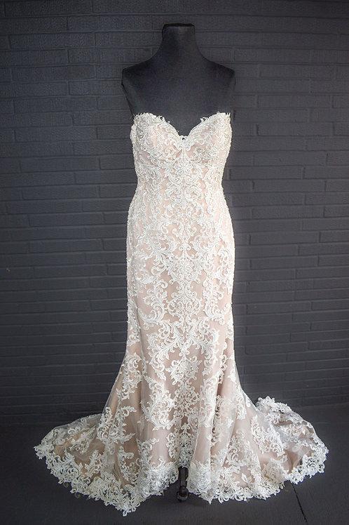 Ivory & Nude Wedding Dress - Size 10