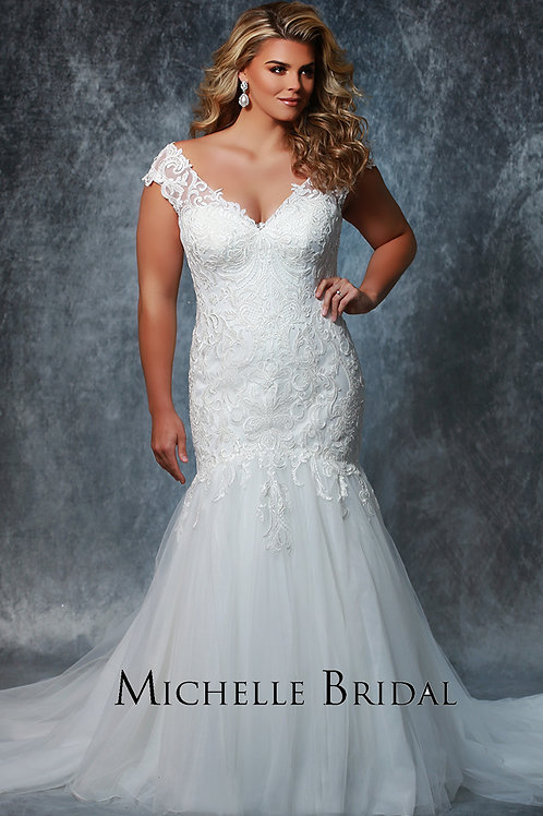 Sydney's Closet Lace and Tulle Mermaid - Sizes 14-36