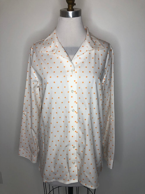 Chico's Orange Polka Dot Top Size 2
