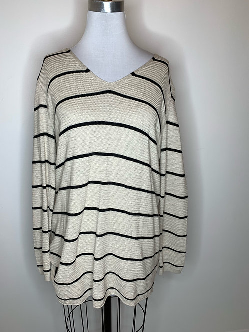 Old Navy Tan stiped Top - Size Large