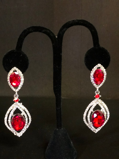 Long Earring - Red and Clear Stones