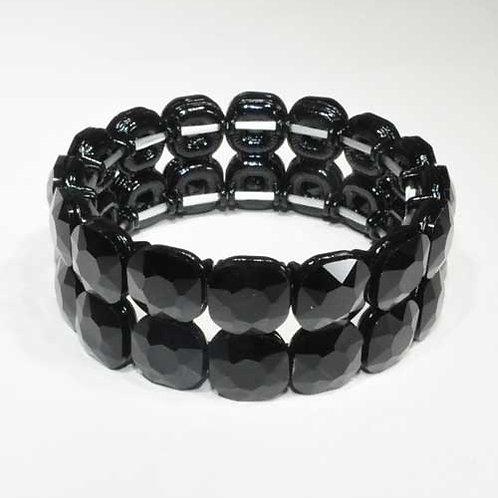 Jet/Black Two Rows Square Stone Stretch Bracelet